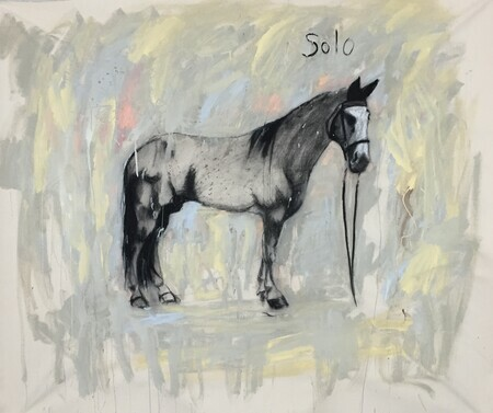 Solo. 52x60 latex and charcoal on raw canvas