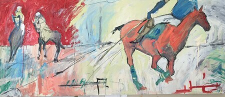 Polo Match  36x72  charcoal mixed media
