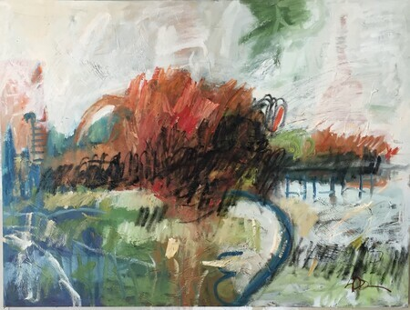 Landscape with fence. Oil and charcoal. 30x40. Sold